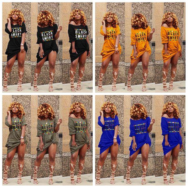 Off spalla T Shirt Dress Women Sexy Black Smart Letter hip Slash Neck night club Tasca estiva manica corta vestito a metà polpaccio AAA2042