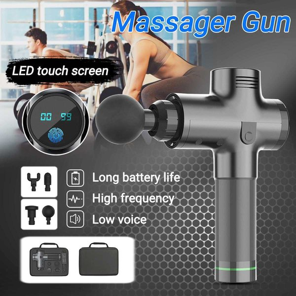 Body mu cle ma ager electric vibrating therapy gun led deep ti ue port ma age machine relax ma ager 3600r min with bag y190722