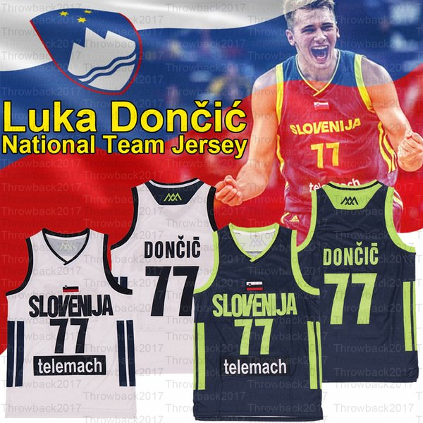 top popular Slovenia Luka 77 Doncic National Jerseys Sewing Number Lightweight And Breathable Men's Basketball Jersey, Stock White Nay 2020