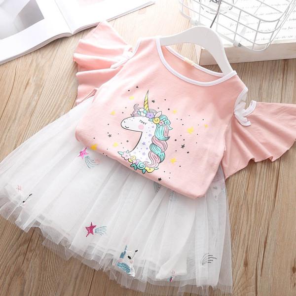 Unicorn Girls Outfits sweet Kids Sets 2019 new Summer kids Dress Suits cotton T shirt+Tutu Skirts Children Suit kids designer clothes A4289