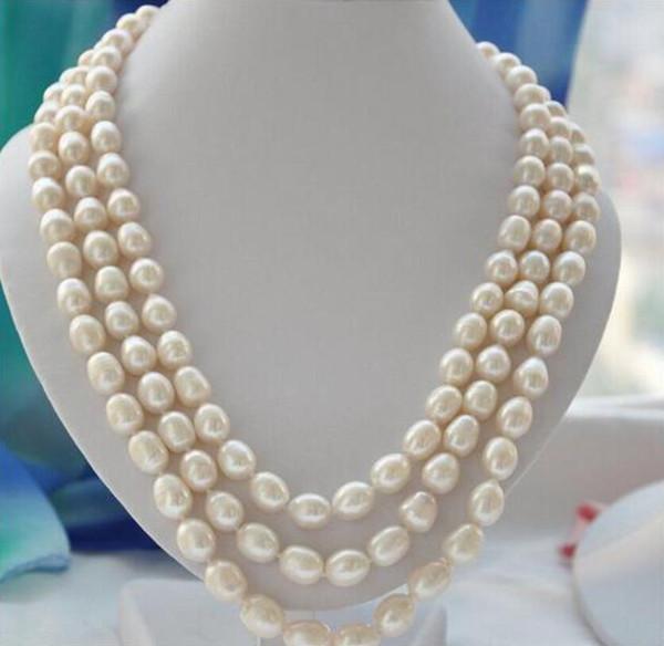 Regalo delle donne d'acqua dolce molto buono 3 fili 10-11mm riso bianco collana di perle coltivate d'acqua dolce Belle donne jewe