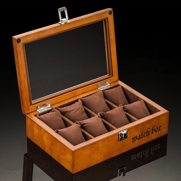 8 Machines à sous en bois écrins de montre café Montre coffret de rangement avec le verre d'affichage Bijoux Cas cadeaux