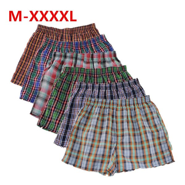 Shanboer 4PCS / lot biancheria intima del Mens pugili sciolto pantaloncini da uomo mutandine di cotone maschi grandi classici pantaloni a quadri Arrow Plus Size 4XL Y200115