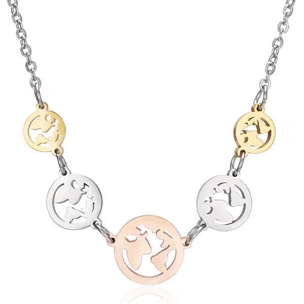 Rinhoo hollow round pendant necklace alloy gold silver rose gold map necklace NEW charm female jewelry gift