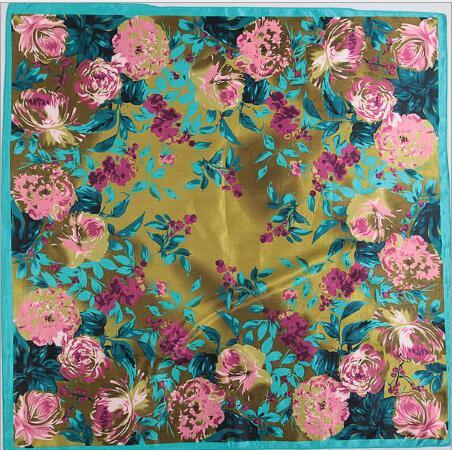 (90cm*90cm)Mix Send Many Colors painting square scarf For lady Small Scarves Silk Satin flowers/plants/Colors painting/Scarves good quality