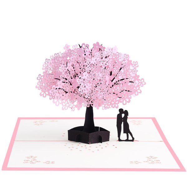 Hot Pink romantic cherry blossom 3D stereo greeting card flower original cherry tree paper carving handmade card Greeting Cards