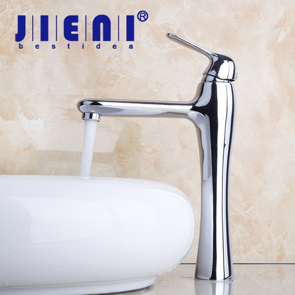 JIENI NEW Sinks Faucet High Bathroom Water Taps Deck Mounted Chrome Finished & Single Lever Solid Brass Vanity Sink Basin Faucet