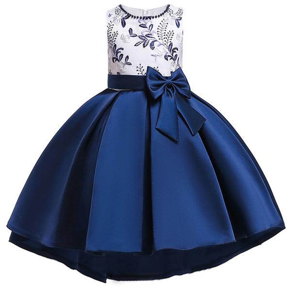 2019 Çiçek Kız Elbise Kız Çocuklar Için Giyim Boncuklu Nakış Düğün Kızlar Çocuklar Parti Için Elbiseler Firar Custumes Y190516