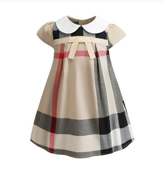 Summer new girl dress butterfly knot short-sleeved doll collar cotton girl plaid skirt