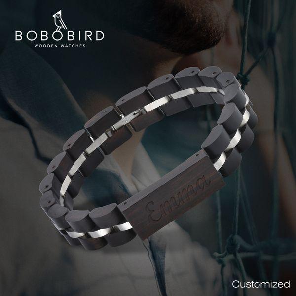 BOBO BIRD Wood Bracelet For Women Free Engraved name Men Bracelet Stainless Steel Bangle Anniversary Gift for Him pulseras mujer BOBO BIRD