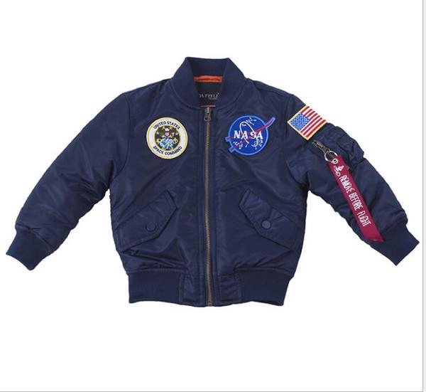 NASA Designer Jackets Outerwear MA1 Flight Pilot Bomber Jacket kids Windbreaker Baseball Wintercoat boy Jacket Veste enfants Size 2T-12T