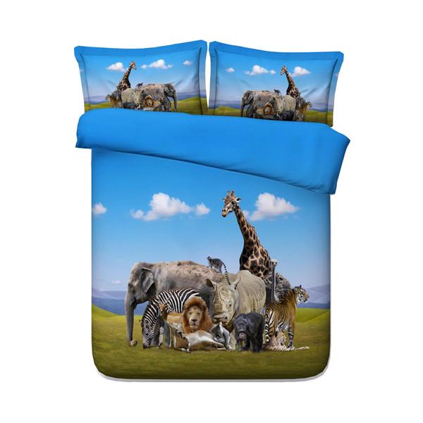 Animal Zoo Kids Boys Duvet Cover Set Giraffes Girls 3 Piece Bedding Set With 2 Pillow Shams Animal Bear Zebra Elephant Duck Tiger Lion