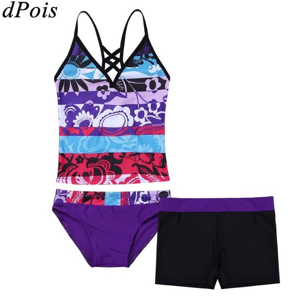 3pcs Teens Kids Floral Printed Swimwear Girl Tank Tops With Bottoms Shorts Tankini Girls Bikini Set 2019 Swimsuit Age 4 To 16 Y19072401