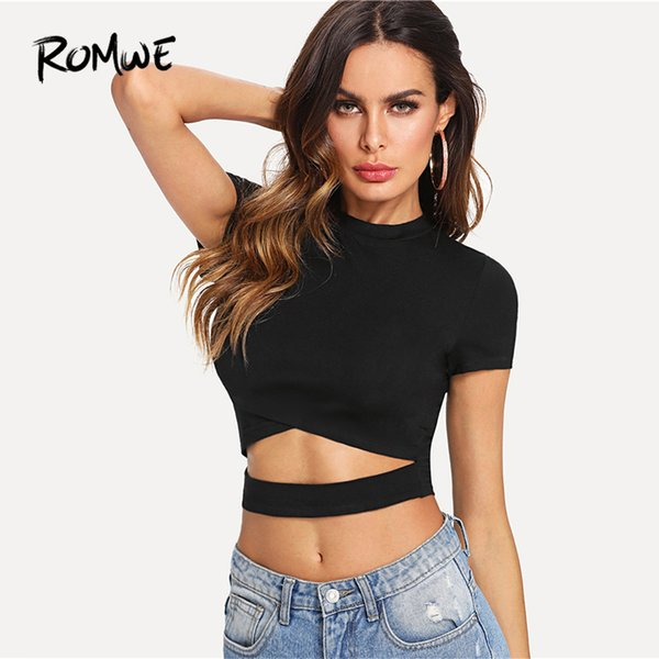 Cutout Waist Cross Wrap Top 2019 Black Solid Short Sleeve Round Neck Crop Tees Chic Women Summer Slim Fit T Shirt