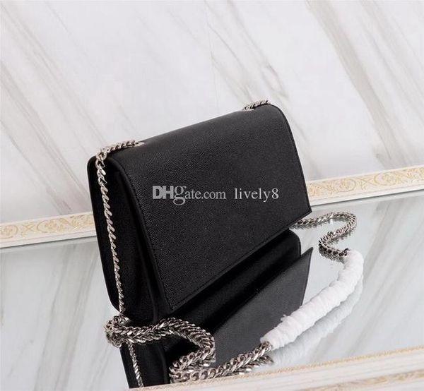 Hot sale New style 24cm women Fashion casual Brand Caviar Handbags luxury Shoulder Bags totes black Gold Silver chains handbags purse