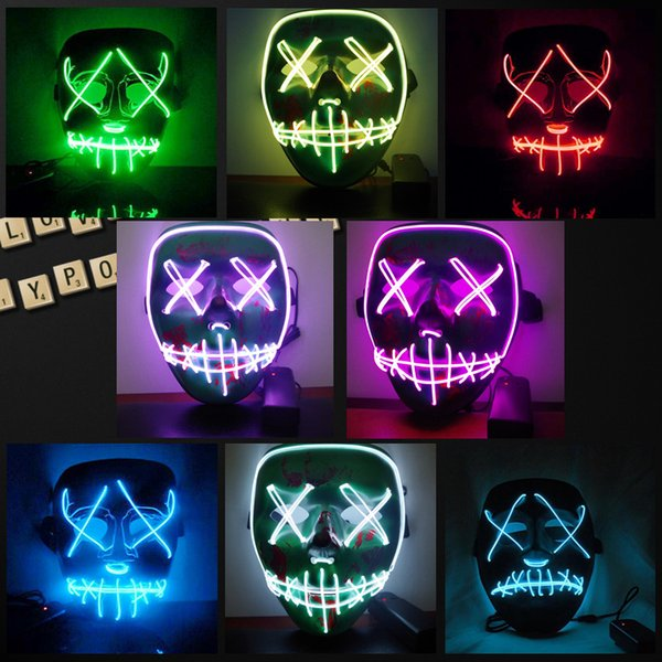 Halloween Mask LED Light Up Funny Masks The Purge Election Year Great Festival Cosplay Costume Supplies Party Masks Glow In Dark DH203