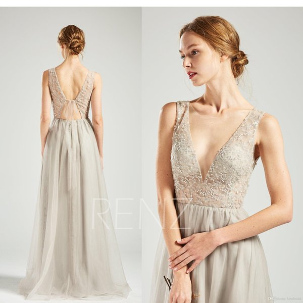 2019 Evening Dresses robes de soiree Beaded Lace Applique Sheer Strap V Neck Prom Dress Long Cheap Bridesmaid Cocktail Party Formal Gowns
