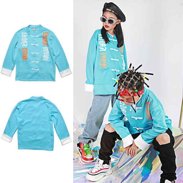 Kid Hip Hop Clothing Blue Tops Pants Boys Chinese Costume Jazz Dance Wear Costumes Tang Suit Stage Ballroom Clothes Wear DQS1549
