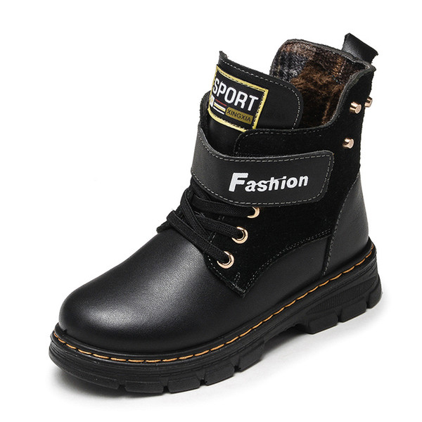 Children Boots Autumn And Winter Leather School Boy Shoes Fashion In The Calf Snow Boots Plush Warm Waterproof Kids Martin