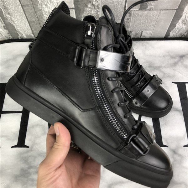 US4-11 Mens Sports Sneakers Metal Sheet Zipper High Top Boots Shoes Casual Genuine Leather Round Toe Lace Up Plus Size Unisex