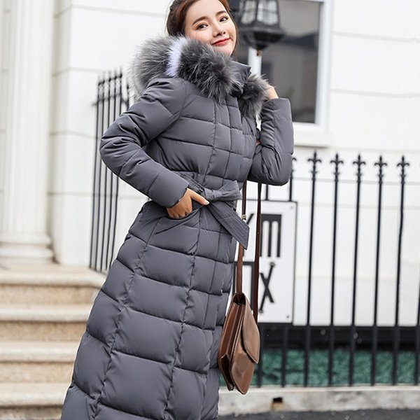 Women Long Sleeve Cotton-padded Down Coat With Hat Thickening Long Casual Warm Hooded Winter Jacket