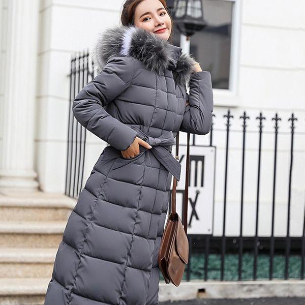 Piumino lungo imbottito in cotone a manica lunga con cappuccio da donna