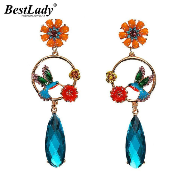 Boho Brand Design Flowers Birds Drop Dangle Earrings For Women Multi Color Hollow Out Ethnic Wedding Party Gift Bijoux
