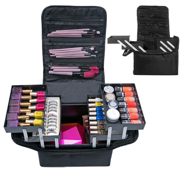 Travel Portable Cosmetic Storage Box Women Large Capacity Professional Makeup Organizer Beauty Salon Tattoos Nail Art Tool Bins J190713