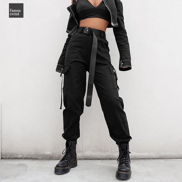 cargo streetwear pants full length women casual joggers black high waist ladies loose female trousers korean style pants capri