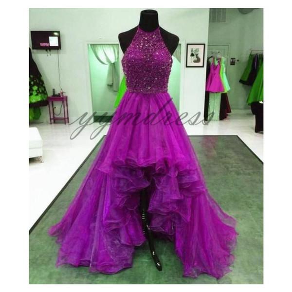 luxury Purple Prom Dresses 2019 Halter Sleeveless Asymmetrical Organza A Line Evening Dress Sequins Formal Party Gowns robes de soirée