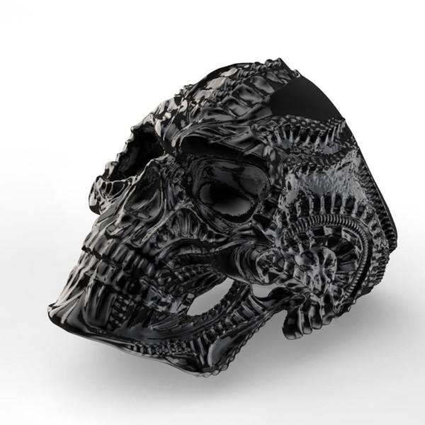 Eejart 316L Edelstahl Alien Skull Ring für Männer