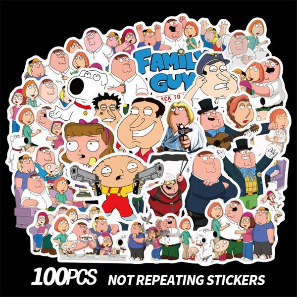 100 Adet / grup Aile Guy Doodle Sticker Hayvan Sticker Kaykay Motosiklet Arabası Sticker Çıkartmalar Karikatür Çıkartmalar Çocuk oyuncakları