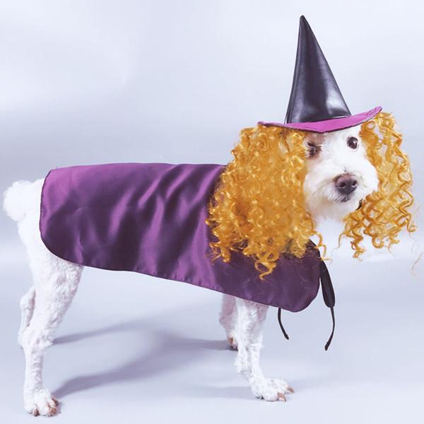 Pet Streghe Costumi Dog tuta viola Capes e cappello nero con giallo parrucca divertente e carino Halloween in autunno e inverno