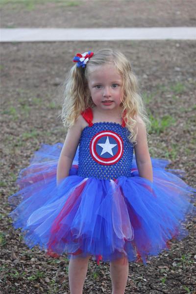 Compre Merica Traje 2 9y Crianças Capitão América Traje Do Super Herói Cosplay Girls Vestido Tutu Crianças Halloween Capitão Costumes Role Play