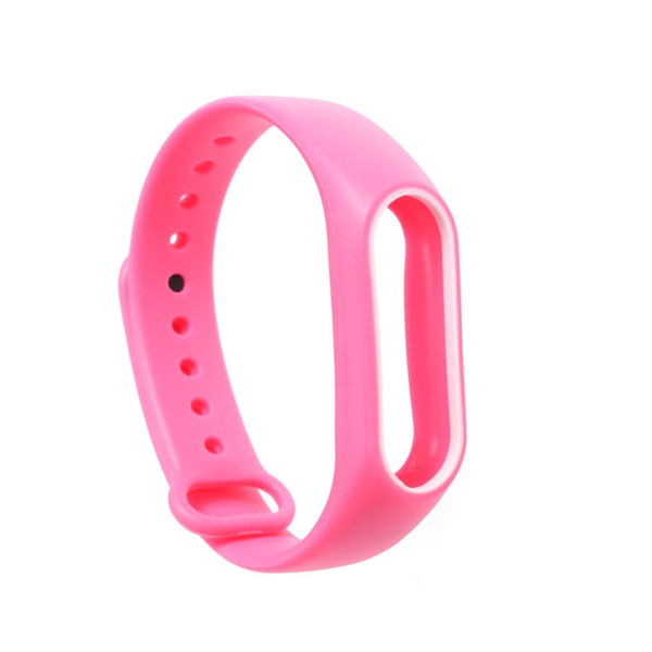 Double Color Accessories Pulseira Strap Replacement Silicone Wriststrap for Miband 2 Xiaomi 2 Smart Bracelet (Pink and White)