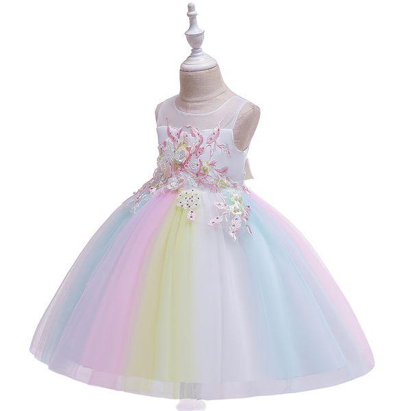 2019 enfants de goldenshield robe fleur robe princesse avec jupe balayage arc-en-perles robe de fille fleur 5 étoiles les commentaires