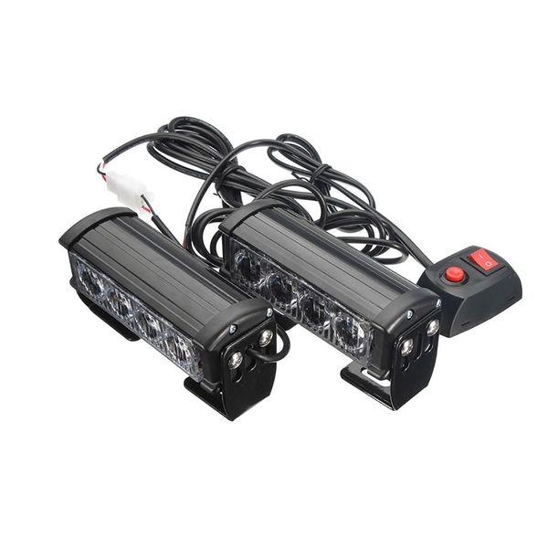 4 LED Izgara Çubuğu Araba Kamyon Strobe Flaş Acil 2 ADET Uyarı Işığı 12 V