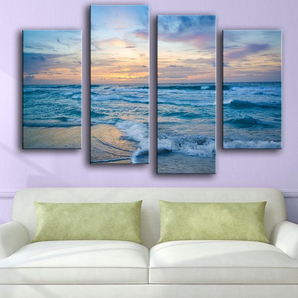 Frame Wall Art Poster Home Decoration Living Room Canvas HD Print 4 Piece Blue Wave Sunset Sea Scenery Painting Modular Pictures
