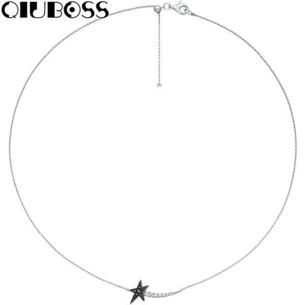 QIUBOSS Neue WISHFUL SHOOTING STAR Halskette Freundin Geschenk 5401287 Schlüsselbein Kette Weibliche Ornament Mode Design
