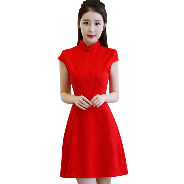 New Chinese Traditional Women Lace Printing Qipao Vintage Cheongsam Novelty Chinese Formal Dress Size S M L XL XXL