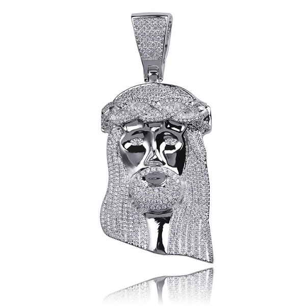Iced Religious Jesus Head Pendant Necklace Free Rope Chain Gold Color Bling Cubic Zircon Men's Hip Hop Jewelry For Gift