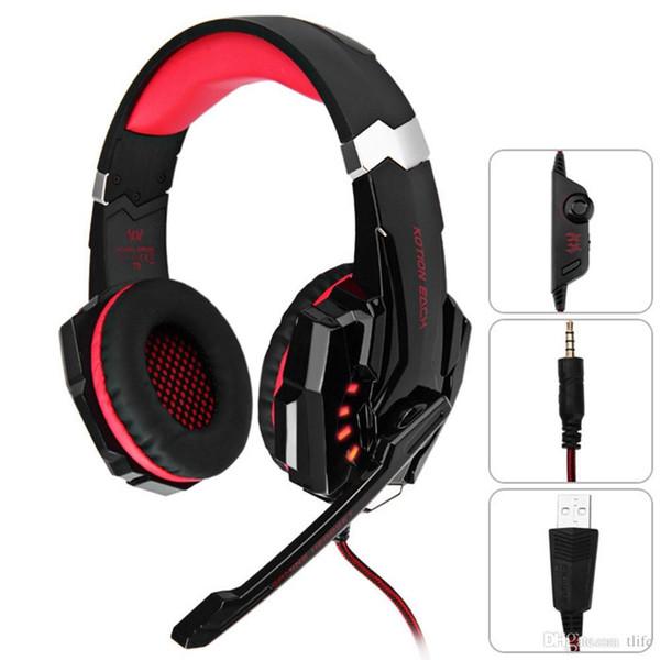 KOTION EACH Gaming Headsets Große Kopfhörer mit leichtem Mikrofon Stereo-Ohrhörer Deep Bass für PC Computer-Gamer Laptop PS4 Neue X-BOX G9000 BA