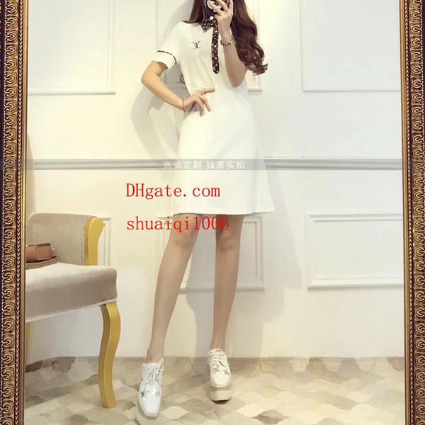 19ss vestidos de roupas femininas brend moda longa camiseta solta confortável lapela camisa de polo carta de impressão carta vestidos de verão L-v1