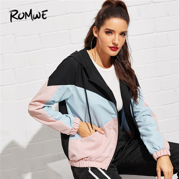 Romwe Sport Color Block Zipper Drawstring Hooded Running Jackets Women 2019 Jogging Exercise Sportswear Outerdoor Coats