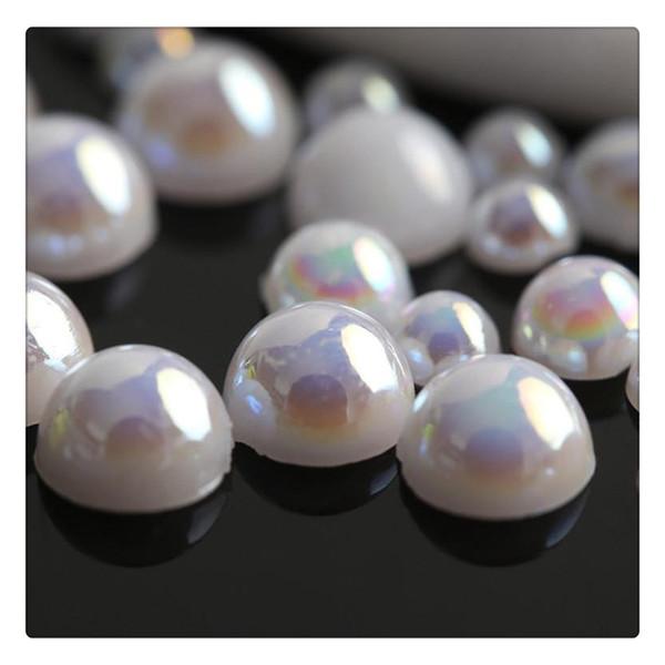 3D Nail Art Räder DIY Dekorationen White Pearl Nail Art Stein unterschiedlicher Größe Rad Strass Perlen