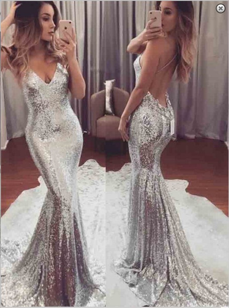 Sexy Silber Pailletten Mermaid Prom Party Kleider 2019 Open Back Plus Size Sweep Zug Auf Lager