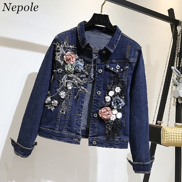 Neploe 2019 Spring Autumn 3D Flower Appliques Outwear Pocket Fashion Women Denim Jacket Single Breasted Casual Loose Coat 69589