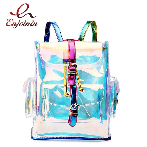 bcc91028b6 New Design Pvc Laser Transparent Gradient Color Fashion Women s Shoulder Bag  Unique Backpack Backpack Girl School B