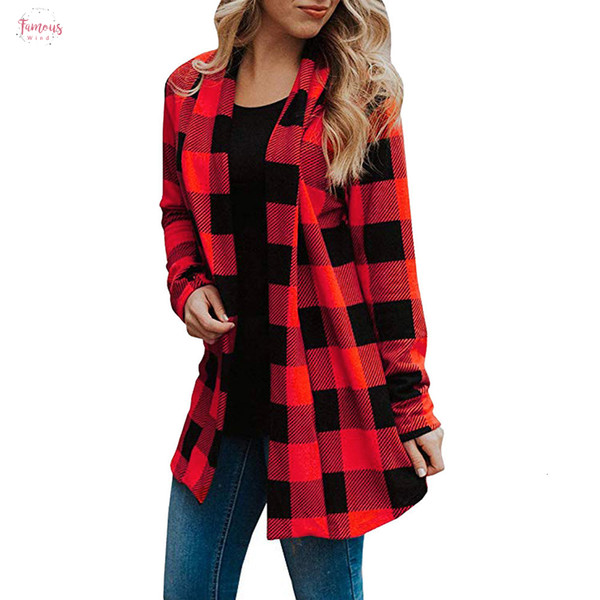 Пальто Женский плед куртка с длинным рукавом с длинным рукавом Кардиганы V шеи Мода Open Front Buffalo 2019 Spring Женский Повседневный Streetwear