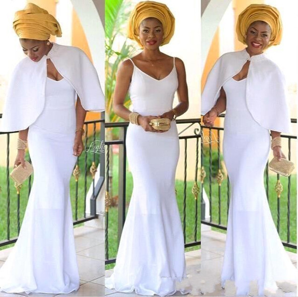 2019 Arabic Nigerian Evening Dresses White Women Mermaid Evening Dress With Jacket Long Vestidos De Festa African Evening Gown BC0443